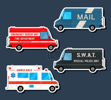 Illustration for Set various city urban traffic vehicles icons. Mail delivery van, ambulance truck, fire department car, swat police bus isolated. Side view. Vector illustration. - Royalty Free Image