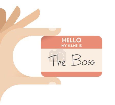 Illustration pour Bonjour, je m'appelle The Boss. Homme d'affaires tenant à la main une carte de visite avec texte. Concepts : emploi, recrutement, emplois, carrière, introduction, direction d'entreprise, succès, start-up - image libre de droit