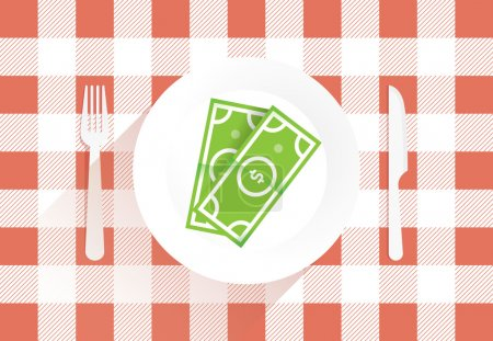 Illustration for Abstract business success lunch with dollar on the plate. Idea - Division of property during divorce, Business lunch, negotiations, success etc. - Royalty Free Image
