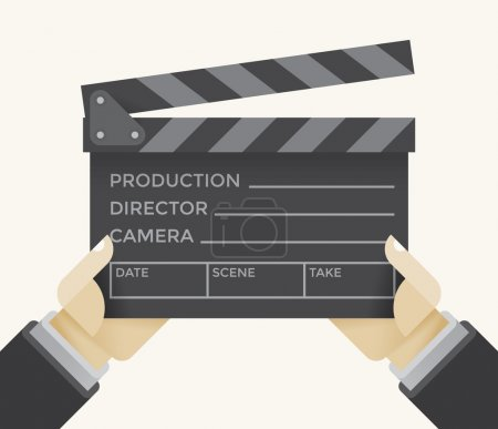 Illustration for Movie clapper board with production, director, camera, date, scene, take text in director's hands. Idea - Filmmaking, production, casting, film industry, companies, studios, cinematography. - Royalty Free Image