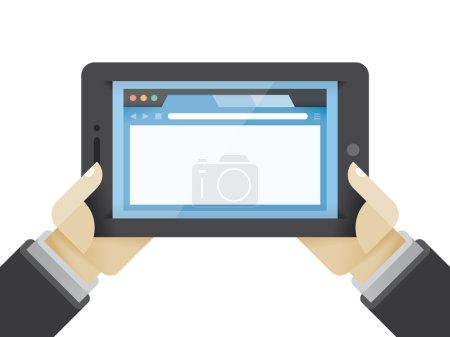Businessman hands holding tablet computer