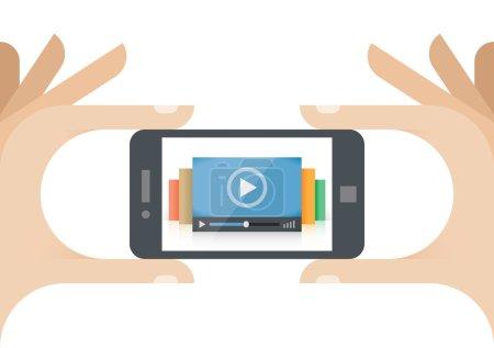 Illustration pour Lecteur de collection de films vidéo en ligne sur téléphone portable à la main humaine. Idea - Collection mobile de films (Youtube, etc. ), Technologies d'informatique en nuage pour le streaming vidéo sur Internet, Actualités TV vidéo - image libre de droit