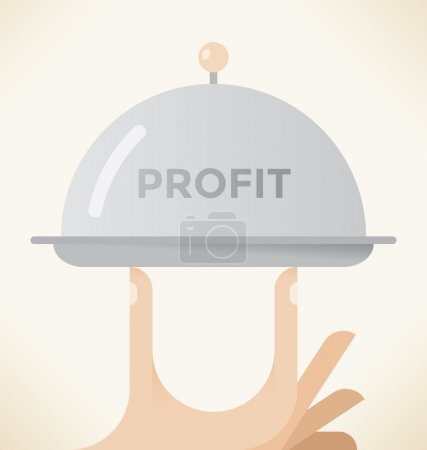 Abstract vector illustration of businessman hand holding serving tray with profit text. Idea - Business profit, Successful negotiations result, Lottery win, Company growth, Leadership, Business lunch.