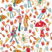 Hipster animals pattern