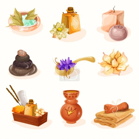 Illustration for SPA and aromatherapy icon set - Royalty Free Image
