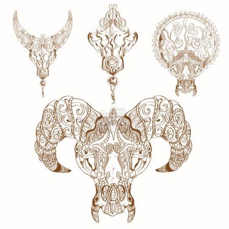 Decorative ornament on skin and horns