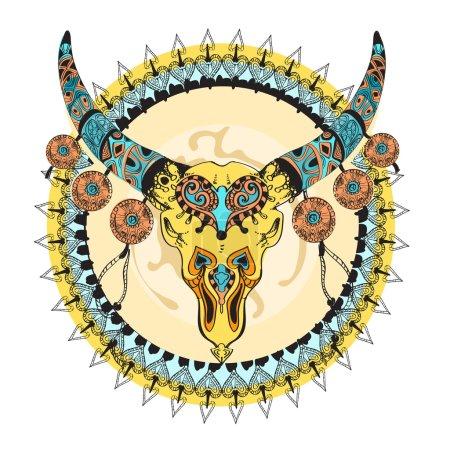 Colored taurus decorative tribal sign