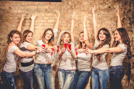 Girls celebrate a bachelorette party of bride