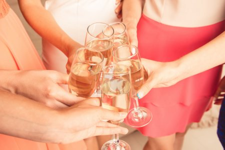 Closeup photo of girls celebrating hen party party