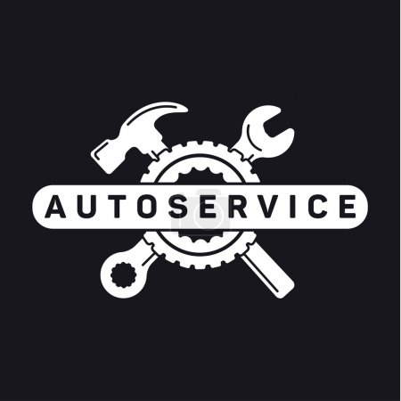 Illustration for Service auto repair, wrench hammer, wheel logo sign flat - Royalty Free Image