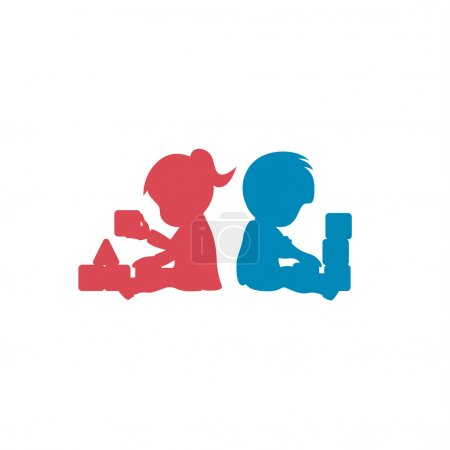 Children playing with toys brother and sister together educational games for kids qualitative modern vector logo style flat