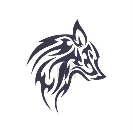 Illustration pour Tatouage loup animal vecteur logo pour unique entreprise moderne signe isolé illustrations art - image libre de droit