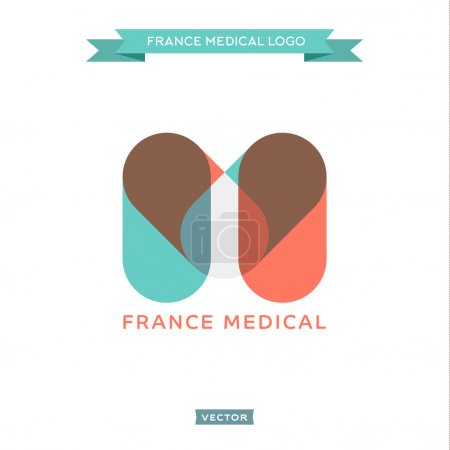 Illustration for The letter M in the form of pills, medical and built the French flag, vector trend styles - Royalty Free Image