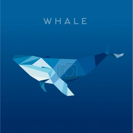 Whale Lowe roles polygons, vector illustration, logo