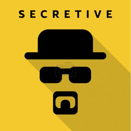 Illustration for Secretive Mask Hero superhero flat style icon vector logo, illustrations, villain - Royalty Free Image