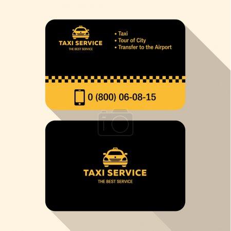 Illustration pour Carte de visite chauffeur de taxi, plat moderne tendance jaune et noir crédits en plastique - image libre de droit