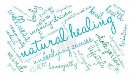 Illustration for Natural Healing word cloud on a white background. - Royalty Free Image