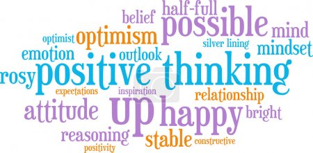Illustration for Positive thinking word cloud on a white background. - Royalty Free Image