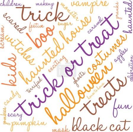 Illustration pour Trick Or Treat nuage de mots sur un fond blanc . - image libre de droit