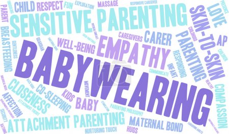 Baby Wearing word cloud on a white background....
