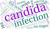 Candida word cloud on a white background