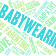 Babywearing word cloud on a white background....