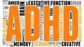 ADHD word cloud on a white background