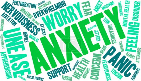 Illustration for Anxiety word cloud on a white background. - Royalty Free Image