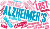 Alzheimer's word cloud on a white background