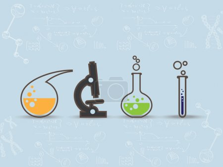 Illustration for Set of scientific laboratory equipment symbols on blue background - Royalty Free Image