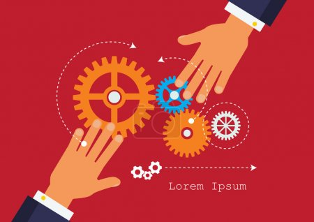 Illustration for People hands holding gears. Business start up concept. - Royalty Free Image