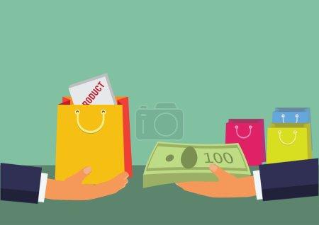 Illustration pour Illustration plate du concept d'entreprise avec les mains pour le paiement et le produit . - image libre de droit