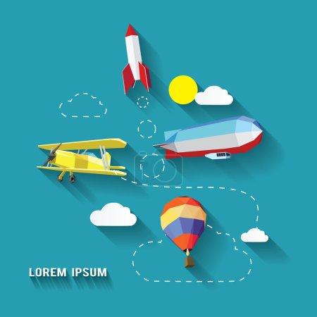 Illustration pour Icônes du transport aérien. fusée, avion, ballon à air, zeppelin - image libre de droit