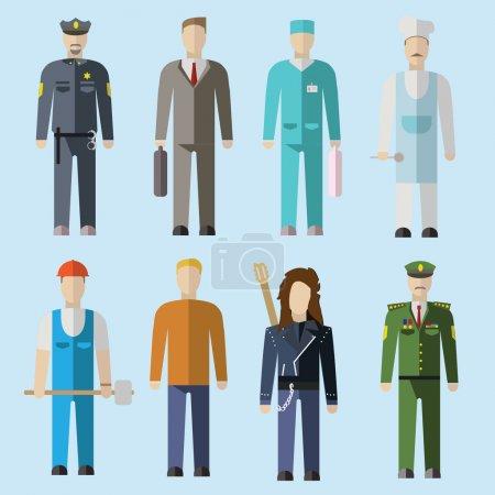 Photo pour Ensemble vectoriel de personnes de différentes professions. Illustration design plat - image libre de droit