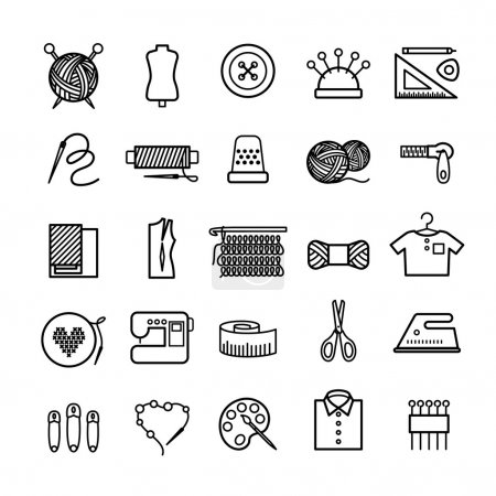 Illustration for Knitting, sewing and needlework line icons. Knitting items, sewing equipment and needlework elements - Royalty Free Image