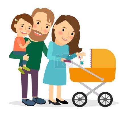 Famille avec bébé en poussette