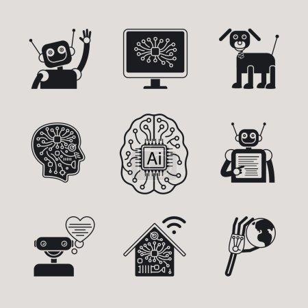 Illustration pour IA, Intelligence Artificielle, Icônes AI et signes AI. Illustration vectorielle - image libre de droit