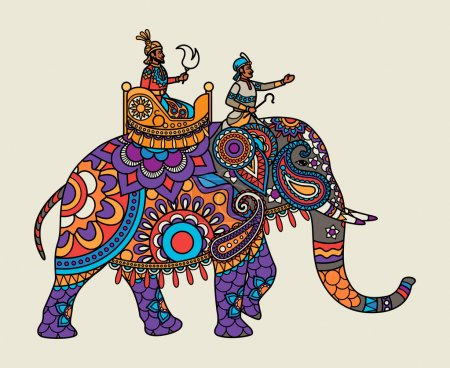 Indian ornate maharajah on the elephant. Vector il...