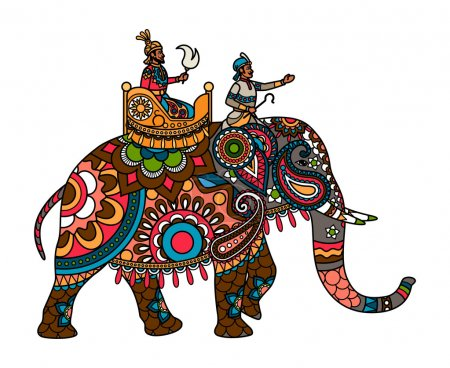 Ethnic Indian maharajah on the elephant colored il...