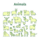 Animals line icons with strokes