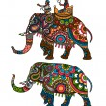 Indian decorated elephant with rider Maharaja. Vec...