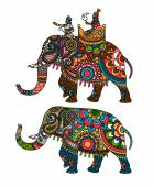 Indian decorated elephant with rider Maharaja Vector illustration