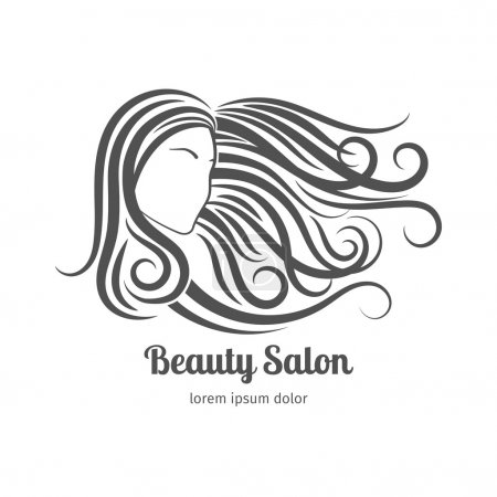 Illustration for Beauty salon logo or cosmetic badge. Woman with long hair - Royalty Free Image