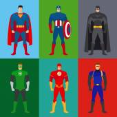 Superhero costumes Vector set of clothes for super heroes