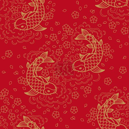 Illustration for Chinese vector seamless pattern with Koi Fish - Royalty Free Image