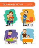 Parents care for the child