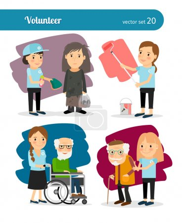 Illustration for Young woman volunteer characters. Vector volunteers illustration - Royalty Free Image
