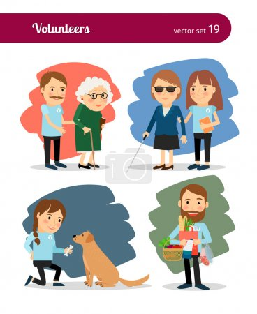 Illustration for Volunteers care for the elderly and disabled. Vector illustrations - Royalty Free Image