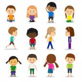 Cute kids characters in different position vector set in flat style