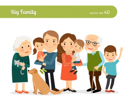Illustration for Big family portrait. Mom and Dad, grandparents, children, and a dog - Royalty Free Image